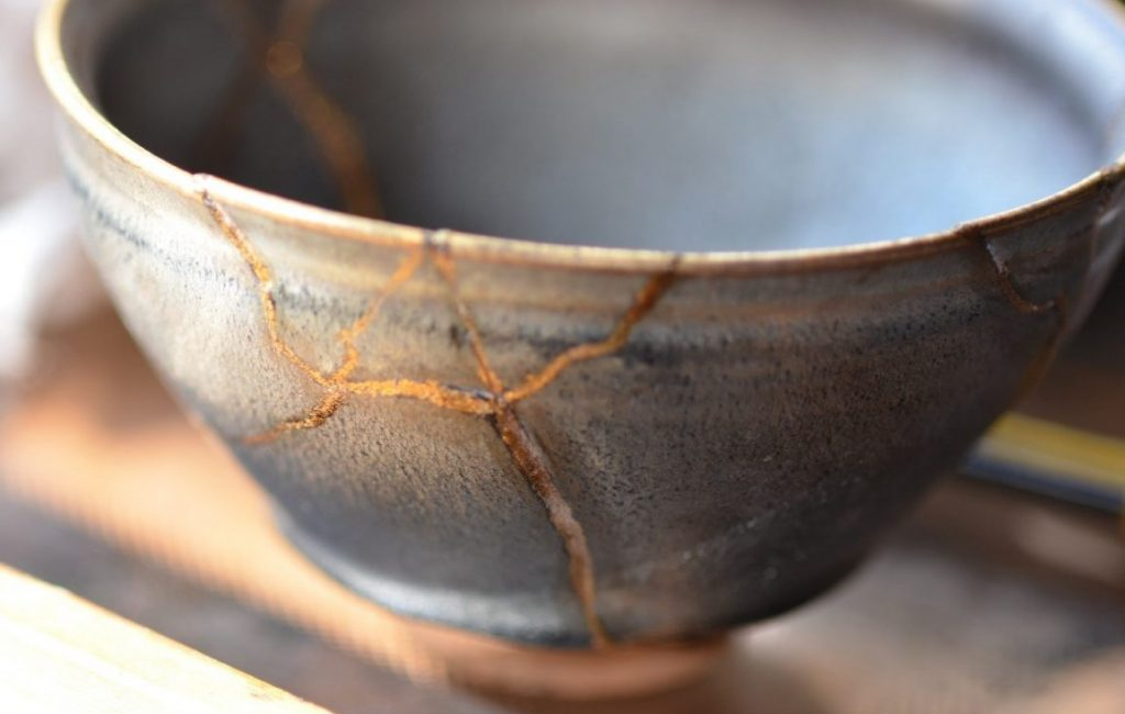 Kintsugi - The art of repairing with gold. The the piece is stronger and more beautiful than before